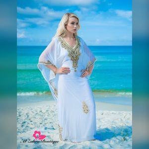 Dresses & Skirts - Off white Kaftan with gold beadwork